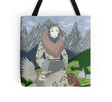 Lady with an owl and a dog Tote Bag