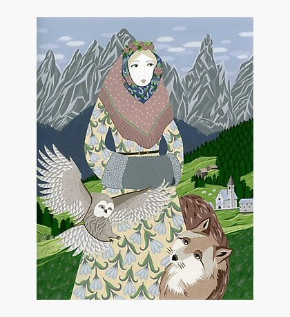 Lady with an owl and a dog Photographic Print