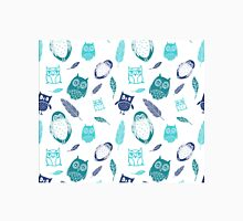 Blue teal owls and feathers Pattern Classic T-Shirt
