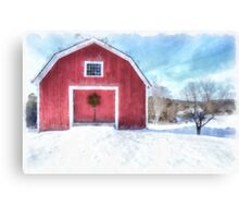 Red Barn in Winter Watercolor Canvas Print