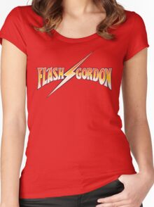 Flash Gordon - Distressed Crackle Lightning Effect Variant Women's Fitted Scoop T-Shirt