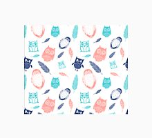 Coral Blue White Owl Pattern Classic T-Shirt