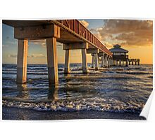 Fort Myers Pier at Sunset Poster