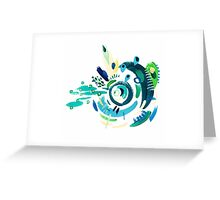 """Cyclone in Green and Blue 1"" (2015) Greeting Card"