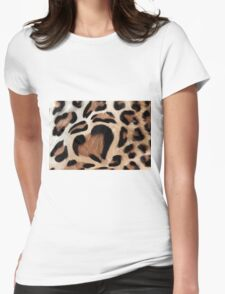 leopard fur heart Womens Fitted T-Shirt