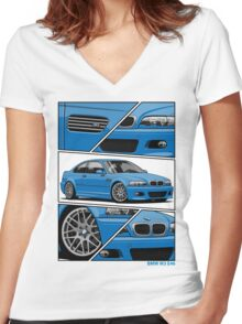 BMW E46 M3 (fragments) Women's Fitted V-Neck T-Shirt