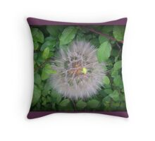Dandelion Meets Leaf Throw Pillow