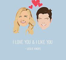 Leslie Knope Loves Ben Wyatt by LizWallflower