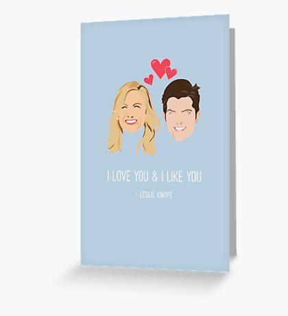 Leslie Knope Loves Ben Wyatt Greeting Card