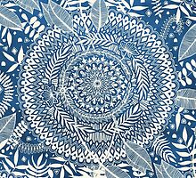 Diamond and Doodle Mandala On Blue by micklyn