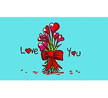Love You Flowers Photographic Print