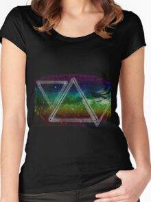 Hipster Triangles Space Women's Fitted Scoop T-Shirt