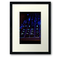 Laptop Blue lights Keyboard Framed Print