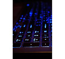 Laptop Blue lights Keyboard Photographic Print