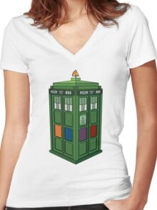 Teenage Mutant Ninja TARDIS (T.M.N.T.A.R.D.I.S.) Women's Fitted V-Neck T-Shirt