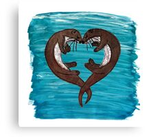 Loveheart Otters Canvas Print
