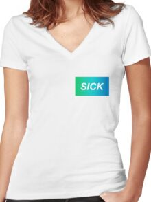 SICK Women's Fitted V-Neck T-Shirt