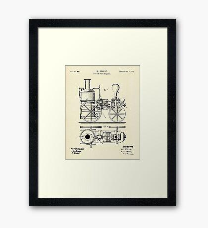 Firemans Steam Fire-Engine Patent Print - 1875 Framed Print