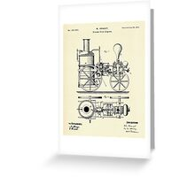 Firemans Steam Fire-Engine Patent Print - 1875 Greeting Card