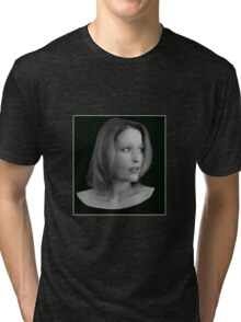 Gillian Anderson - Oil Painting Tri-blend T-Shirt