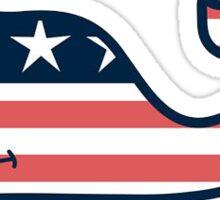 American Flag VV Whale Sticker
