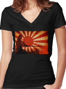 Samurai Sun Women's Fitted V-Neck T-Shirt