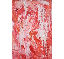 Red and White Drips Photographic Print