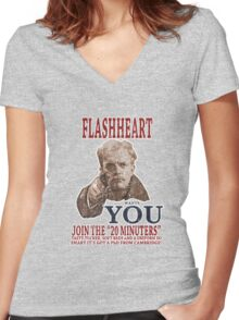 FLASH HEART WANTS YOU (2) Women's Fitted V-Neck T-Shirt