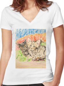 Two Kittens Women's Fitted V-Neck T-Shirt