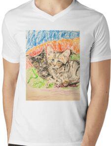 Two Kittens Mens V-Neck T-Shirt