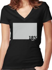 18% Grey Test Tee Women's Fitted V-Neck T-Shirt