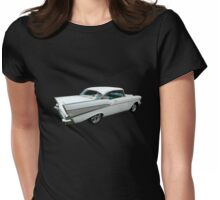 57 Chevy Bel-Air Hardtop in Silver and White Womens Fitted T-Shirt