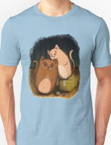 Two cute cats on wooden floor T-Shirt