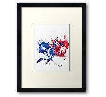 Hockey Battle Framed Print