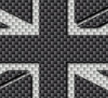 UK Flag Union Jack in Carbon Fiber White on Black Sticker
