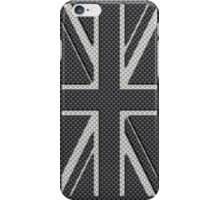 UK Flag Union Jack in Carbon Fiber White on Black iPhone Case/Skin