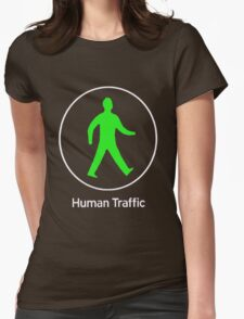 Human Traffic red Womens Fitted T-Shirt