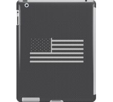 USA American Flag Stars and Stripes Carbon Fiber White on Black iPad Case/Skin
