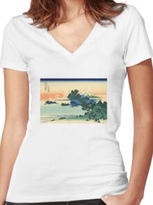 'Shichiri Beach in Sagami Province' by Katsushika Hokusai (Reproduction) Women's Fitted V-Neck T-Shirt