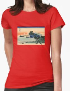 'Shichiri Beach in Sagami Province' by Katsushika Hokusai (Reproduction) Womens Fitted T-Shirt