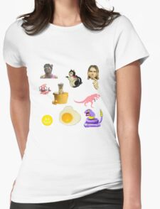 Random Collage Kurt Cobain Egg Dinosaur Womens Fitted T-Shirt