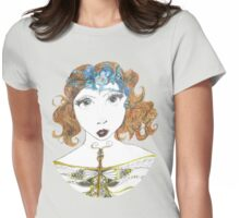 Fantasy Art Deco Style Goddess Womens Fitted T-Shirt