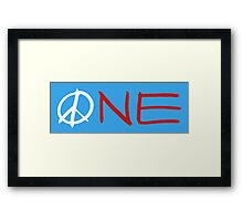 ONE peace sign Framed Print