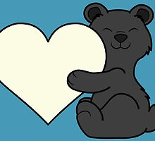 Valentine's Day Black Bear with Cream Heart by Grifynne