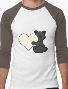 Valentine's Day Black Bear with Cream Heart Men's Baseball ¾ T-Shirt