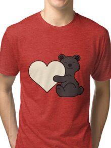 Valentine's Day Black Bear with Cream Heart Tri-blend T-Shirt