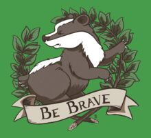 Be Brave Badger Crest Kids Tee