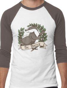 Be Brave Badger Crest Men's Baseball ¾ T-Shirt