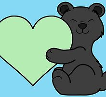Valentine's Day Black Bear with Light Green Heart by Grifynne