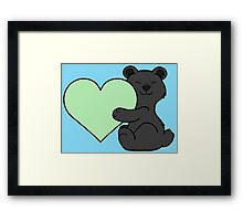 Valentine's Day Black Bear with Light Green Heart Framed Print